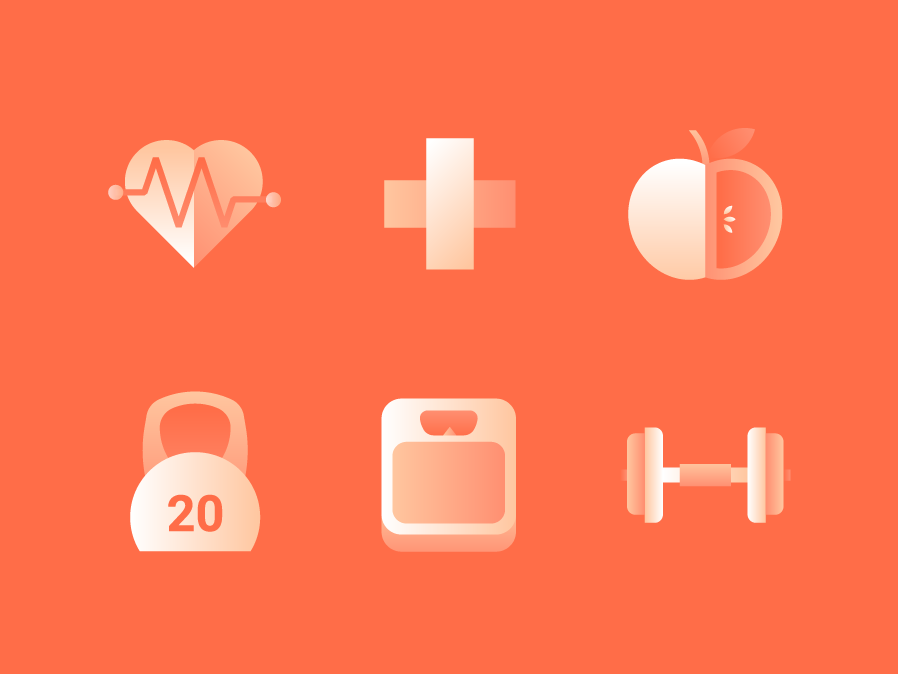 Health & Wellness Icons #1 cross dumbbell icon heartbeat icon kettle bell apple meditation dumbbell gradient icon minimal icon scales weight kettlebell icon kettlebell apple icon heartbeat spa wellness icon health icon wellness health