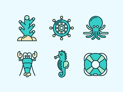 Marine Life Icons 2 design vector ui logo icons icon marines line icon sailor ocean sea icon seahorse lobster reef coral octopus squid marine marine life nautical
