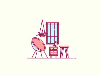 Interior Shot 002 illustration ui ux 2d interior icon logo line art minimal pastel lamp cactus table chair window curtain vector cozy interior design exterior