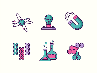 Science Icons 1 mathematics physics biology electricity light bulb magnet chemistry dna atom line icon flat illustrator illustration 2d ux ui icon design icon logo science