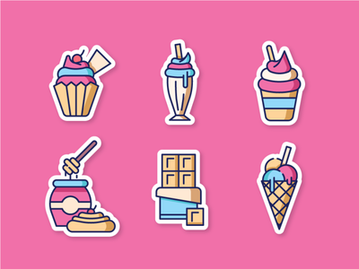 Sweet Dessert 2 strawberry pancake vanilla cake muffin milkshake ice cream cone ice cream honey chocolate line icon flat icon icons ux ui 2d illustration icon dessert sweet