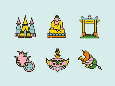 Thailand Icons 2 shrine line line icon art thai art thai food palace holy dragonfruit statue food temple buddha thailand icons icon ux ui 2d illustration