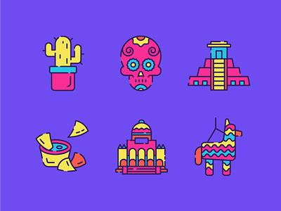 Mexico Icons 2 line icon illustrator 2d plant pinata mexico city mayans tree cactus skull llama food taco nacho day of the dead mexico ux ui icon illustration