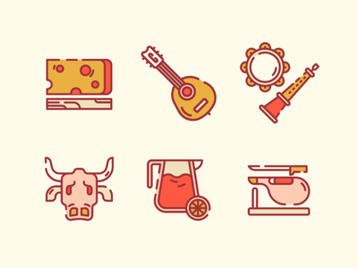 Spain Icons 2 musical instrument drink food portugal flat traditional icon cheese bull musical instruments music barcelona spain flat icon icon design icon illustration ux ui 2d