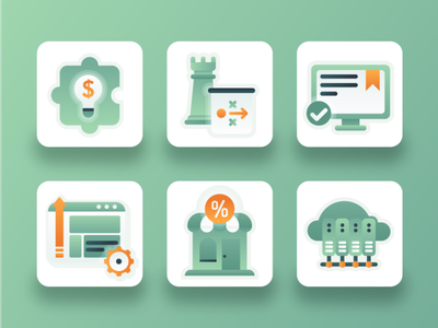 SEO Icons 1 search engine optimization gradient puzzle growth browser shop server strategy icon design webdesign illustration 2d ux ui flat icon marketing digital marketing search engine