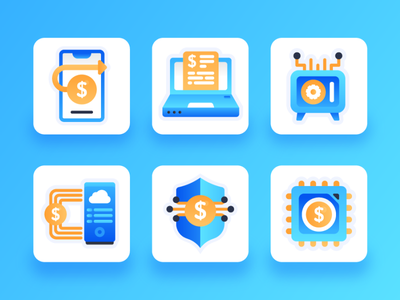Fintech Icons 2 illustration money finance transaction online payment payment method payment cybersecurity security blockchain financial technology financial fintech icon design icon mobile flat 2d ux ui