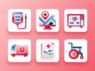 Hospital Icons 2 blood flat red icon set ui design ux ui medical app medical care medicine ambulance doctor wheelchair medication medic health hospital illustration icons 2d