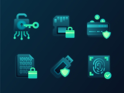 Cybersecurity Icons 1 vector icon transaction fintech blockchain flat encryption sim card crypto wallet fingerprint security security app cryptocurrency computer icon hacking icon set illustration ux ui 2d