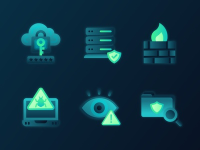 Cybersecurity Icons 2 blockchain fintech tech icon design icon pack virus malware data protection server firewall encryption hacking cybersecurity flat illustration 2d ux ui icon set icons