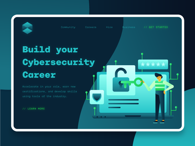 Cybersecurity Landing Page 1 secure clean fintech modern ui kit typography illustration vector 2d blockchain finance security landing page ui icon design icon set flat ux ui landing page cybersecurity