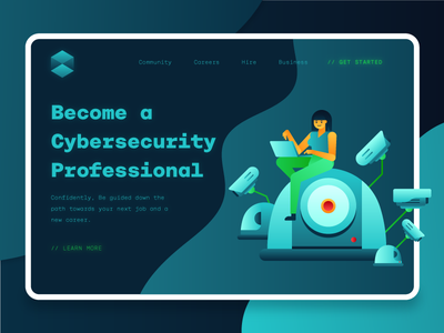 Cybersecurity Landing Page 2 encryption fintech hacking flat illustration vector flatdesign modern flat 2d blockchain programming cctv security technology icon ui design uiux ui landing page cybersecurity