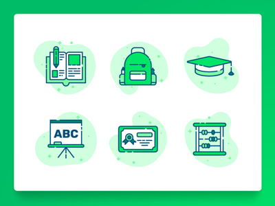 Education Icon 1 startup green line icon flat book learning teaching graduation certificate math university backpack back to school education icon icon set illustration ux ui 2d