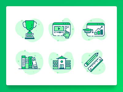 Education Icon 2 math high shcool school web design green icon set books university e-learning line icon flat illustration ux ui startup teaching learning education icon 2d