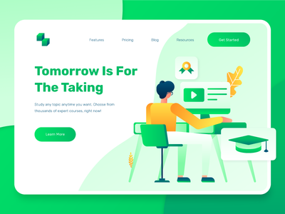 Education E-Learning Landing Page 2 business vector gradient modern flat improvement self improvement certificate academic teacher teaching university school academy online course landing page illustration e-learning education 2d
