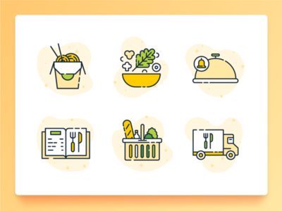 Food Icon 2 flat icon icon set icon ux ui food truck noodle salad grocery recipe breakfast dinner lunch food delivery delivery takeaway chinese food illustration 2d food
