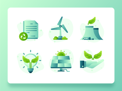 Green Energy Sustainability Icon 2 flatdesign vector wind turbine recycle solar light bulb plant leaf nuclear energy green energy green sustainability icon set icon ux ui web design illustration 2d