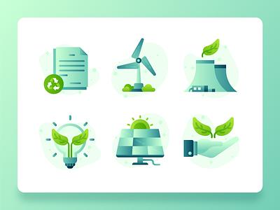 Green Energy Sustainability Icon 2 flatdesign vector wind turbine recycle solar light bulb plant leaf nuclear energy green energy green sustainability icon set icon ux ui web design illustration 2d