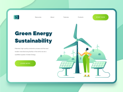 Green Energy Sustainability Landing Page 1 2d character recycle uidesign modern landing page ui green business fintech science solar panel wind turbine web design landing page flat vector ux ui 2d sustainability green energy