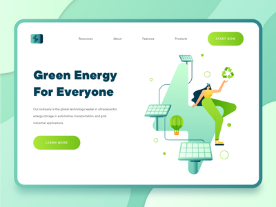 Green Energy Sustainability 2 fintech business startup green character electricity ui design ux ui illustration landing page 2d flat power recycle solar panel solar energy sustainability green energy