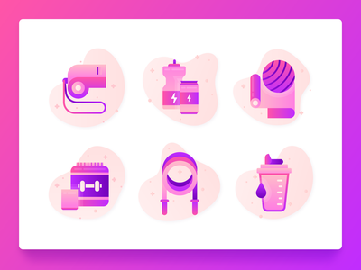 Fitness Icons 1 vectors ux ui weight diet vector purple gradient flat coach whistle drink supplement jump rope yoga energy drink web design 2d illustration icon set