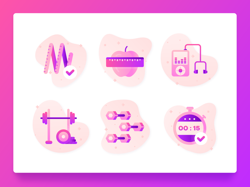 Fitness Icons 2 gym healthy fitness app 2d purple weightlifting music stopwatch weight loss weight diet web design flat illustration flat icon set icon ux ui exercise fitness