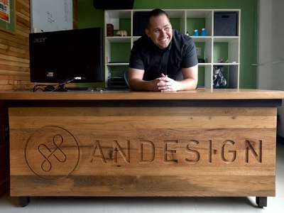 Andesign Logo & Custom Desk by Drew at nicelogo.com freelancer nice logo ampersand workstation desk identity