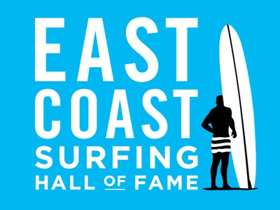 East Coast Surfing Hall of Fame logo wave orange county freelance logo designer branding action sports logo design type lockup nice-logo surfboard surfing logo
