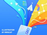 Card paper airplane data colorful mirocat design illustration