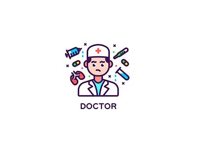 Doctor line reagent anxiety organ surgery medicine drug ui icon design illustration