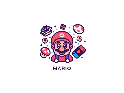 Mario game egg mysterious props wall green turtle mushroom switch ui line icon design illustration
