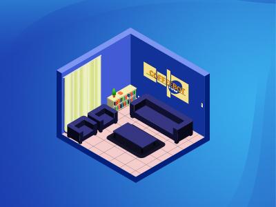 CB Lounge isometric flat vector illustration design