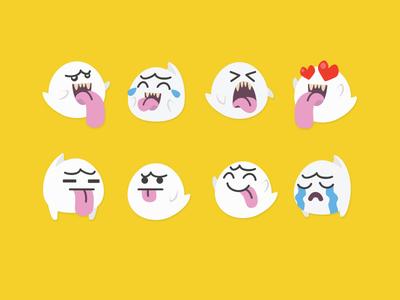 Super Mario - Boo Emojis flat design flat icon illustration cute happy halloween snapchat ghost halloween boo emoji collection emoji super mario