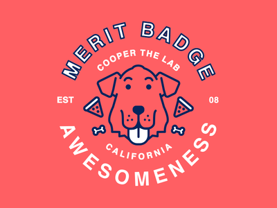 Cooper the lab: Merit Badge of Awesomeness Stickers