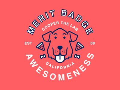 Cooper the lab: Merit Badge of Awesomeness Stickers awesomeness labrador pet dog vector badge flat design illustration