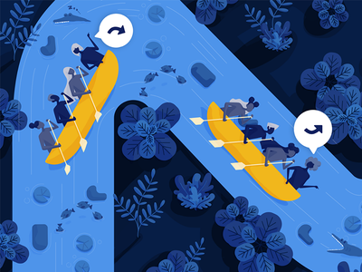 Pathlight: Lead for speed gogo canoe leadership digital painting editorial illustration direction illustration pathlight