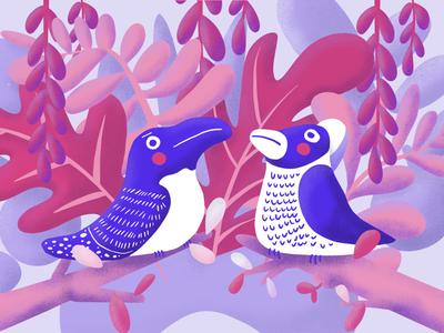 Birds on Branches digital painting procreate illustrator vector editorial illustration perching birds illustration