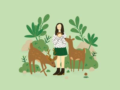Japan Diary: Deer Park in Nara kawaii design vector procreate japan ipad pro editorial illustrator illustration digital painting deer park