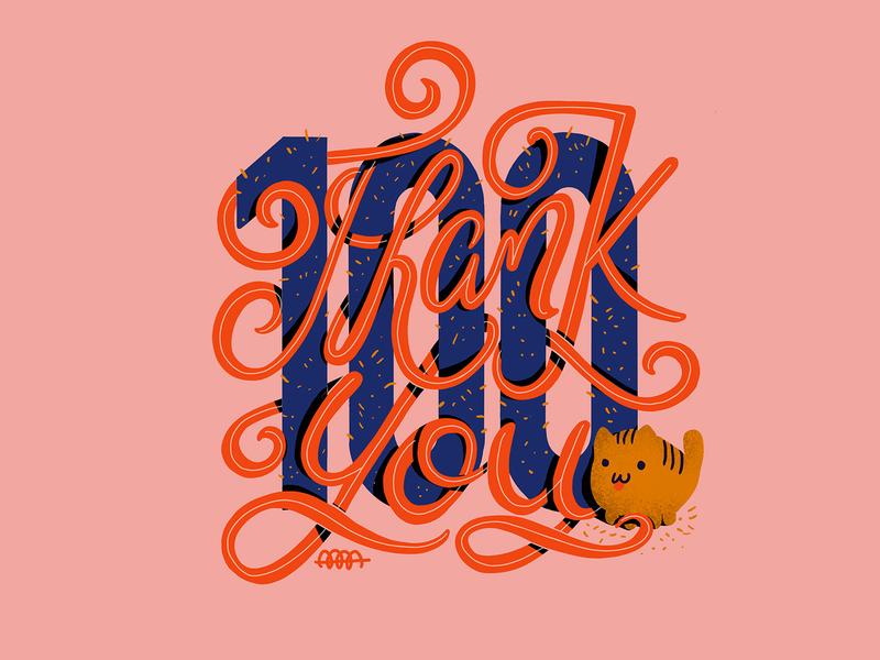 Thank you 100 branding procreate flat design illustration digital painting calligraphy typogaphy thankyou