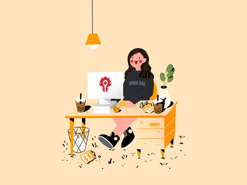 WFH: Working, Chips, and Boba cute flat design digital painting illustrator gamer editorial girlgamer worldofwarcraft wow gaming girlboss working grinding workfromhome illustrations freelancing homeoffice wfh