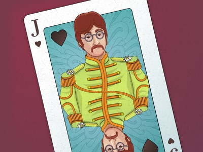 Sgt. Pepper Lonely Hearts Playing Card playing card john lennon sgt. pepper the beatles illustration lennon naipe beatles