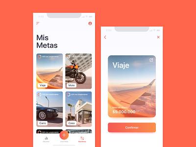 App para ahorrar dinero save money app design money fintech bank ahorro travel app clean ui