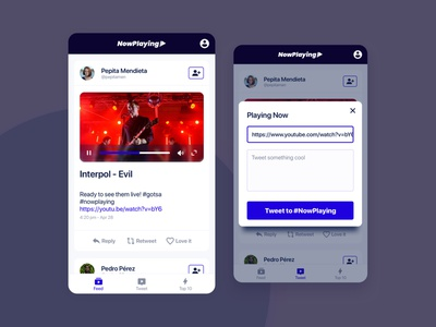 MusicTweet video media social media playlist play music app contrast app ui rock tweet player music