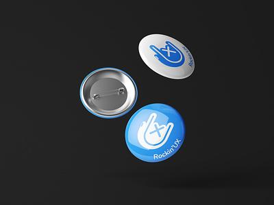 RockinUX brand logo icon hand rock button ui ux badge pin