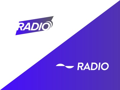 Radio flat minimal music sound wave logo radio