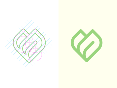 Leaf - Spa logo line soft flat construction grid peace green vector leaf brand logo