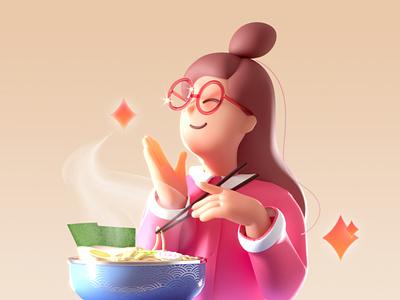 Noodle Glasses Sister 3d c4d