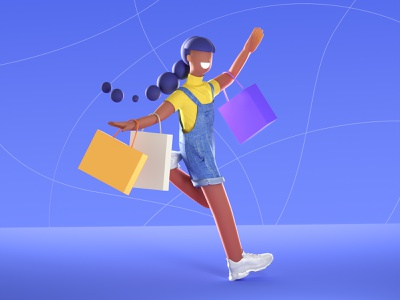 shopping girl colors run 3d characters c4d