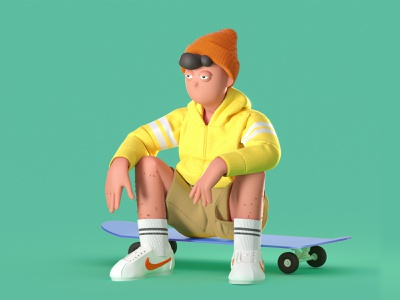 Skater Boy nike sport skateboard characters color 3d c4d