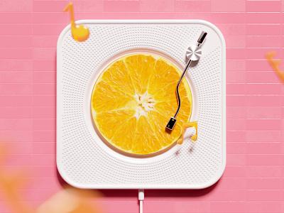 Orange Phonograph pink color music juice orange corona c4d