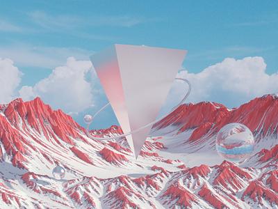 pyramid color octane c4d concept mountain clouds peak